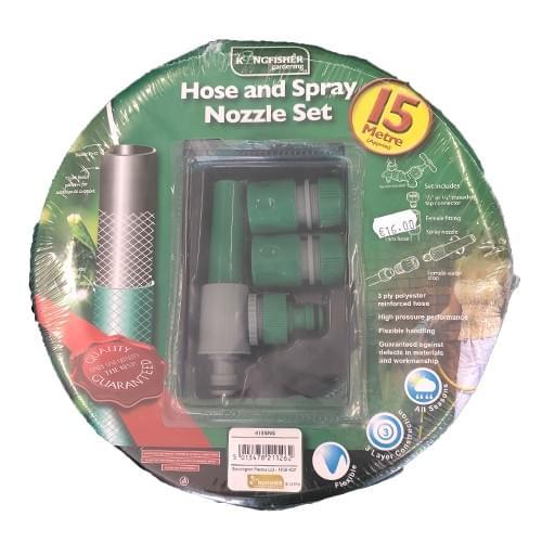 15m Hose and Spray Nozzle Set Hosepipe Garden Kingfisher