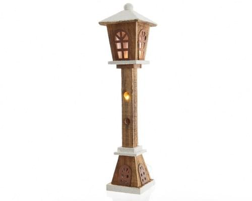 Battery operated white wooden Christmas lamps