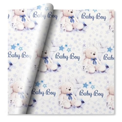 Giftwrap Bear With Text Welcome To The World Baby Boy