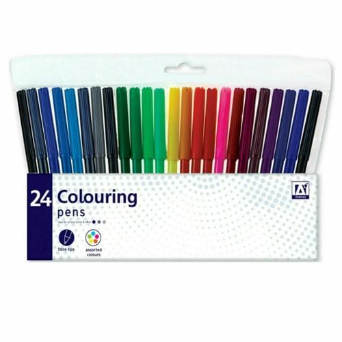 24 Colouring Pens Assorted Colour Shades Fibre Tip Markers Felt Tip Stationery