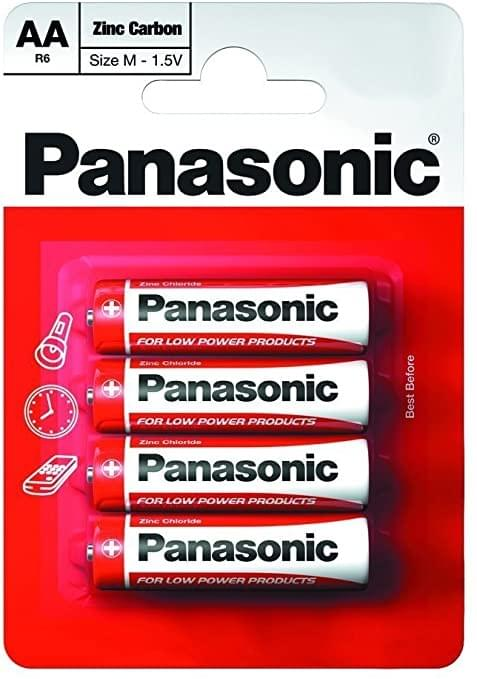 Panasonic AA Zinc Carbon Single Use Batteries 4 pack