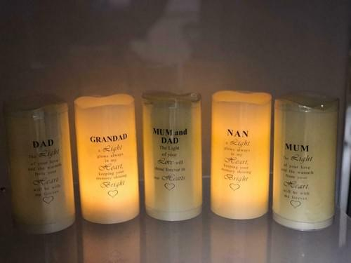 Family Memorial Remembrance LED Wax Flickering Candles Battery Operated