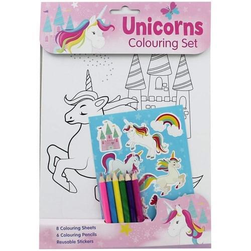 Unicorns Colouring Stationery Set With Rainbow and Unicorn Stickers 6 Pencils