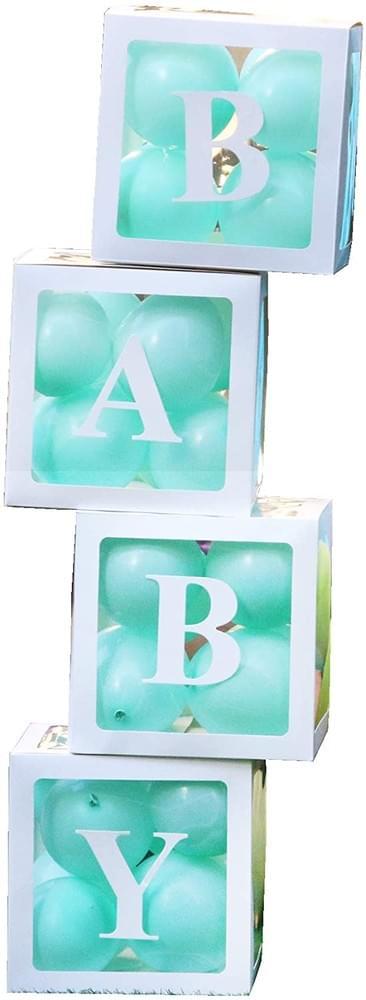 PILIN 4Pcs White Blocks Square Baby Shower Boxes Kit Party Decorations for Boy & Girl Gender Reveal