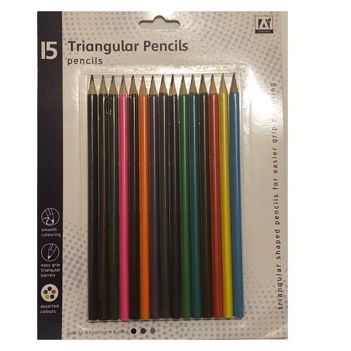 15 PACK TRIANGLE BOX COLOURING PENCILS