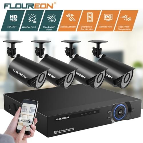 FLOUREON 4CH Full 720P Security Camera 5 in 1 Digital Video Recorder with 4PCS  Camera system