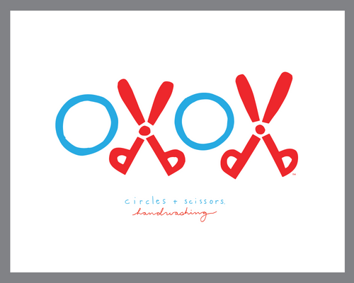 Little oxox Handwashing sign - Circles + Scissors script