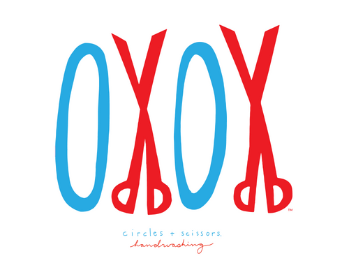Big OXOX Handwashing sign - Circles + Scissors script