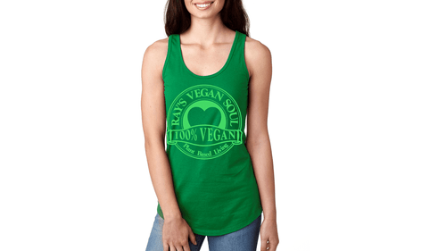 Rays Vegan Soul Plantbased Living Neon Green Letters Womens Racerback Tank 7 Colors
