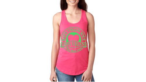 Rays Vegan Soul Plantbased Living Neon Green Letters Womens Racerback Tank 7 Colors