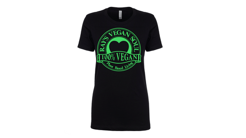 Rays Vegan Soul Plantbased Neon Green Letters Womens Tshirt 7 Colors