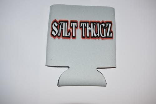 Light Gray Salt Thugz koozie graffiti logo