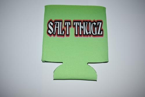 Lime Green neoprene Salt Thugz koozie Graffiti logo
