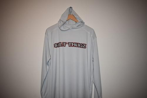 Hooded Dri fit performance shirt long sleeve in Gray