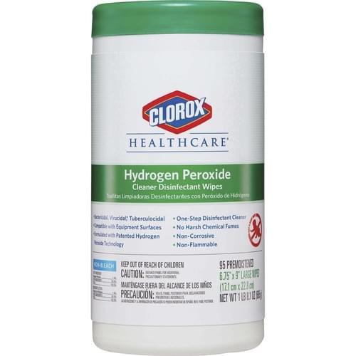 CLOROX 30824 6.75X9 HYDROGEN PEROXIDE DISINFECTING WIPE 95/CN 6/CS