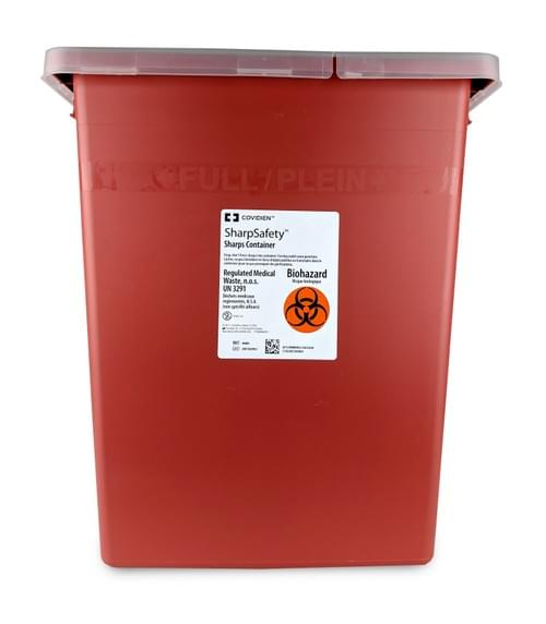 8980 - 8 GAL Red Sharps Container - W/Rotor-Split Lid