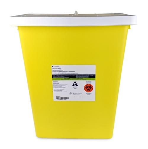 8985 - 8 GAL Yellow Sharps Container - W/Rotor-Split Lid