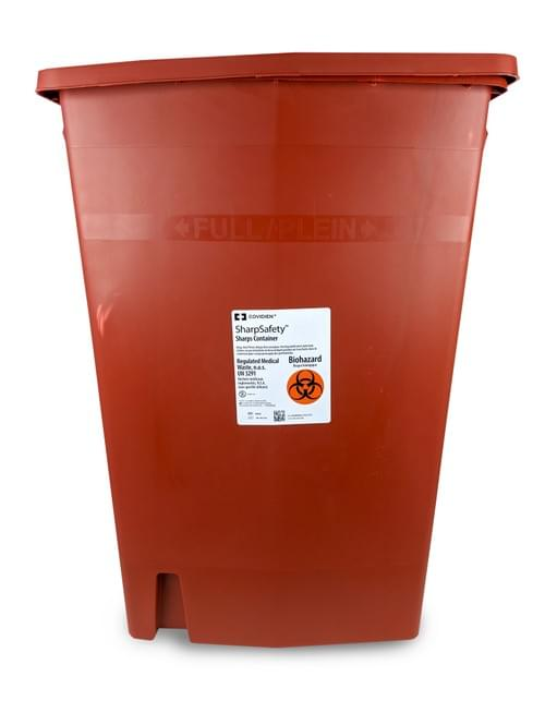 8938 - 18 GAL Red Sharps Container W/Slide Lid