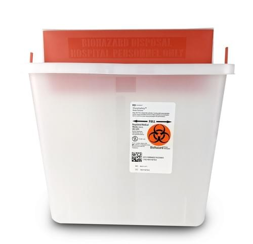 85121R- 5 QT Clear Sharps Container - W/Mailbox Lid