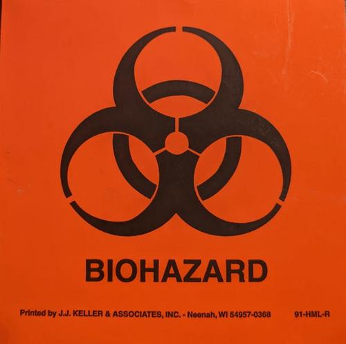 "4"" x 4"" Small Biohazard Label"