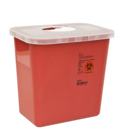 8970 - 2 GAL Red Sharps Container - W/Rotary Lid