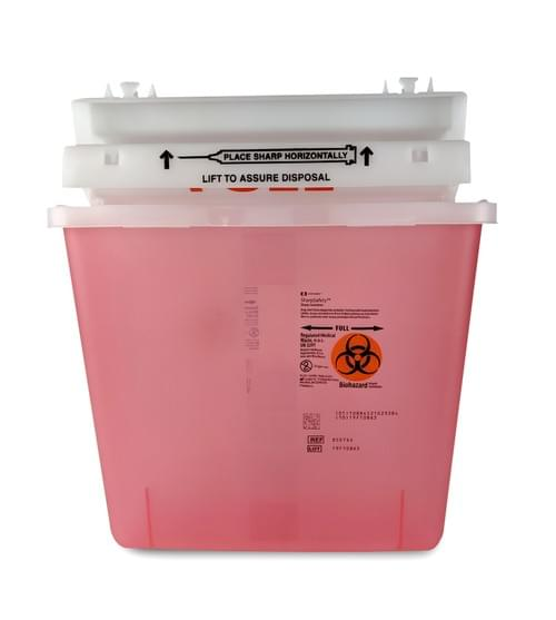 8507SA - 5 QT Red Sharps Container - W/Mailbox Lid