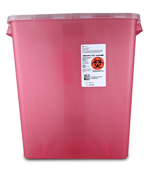 8527R - 3 Gallon Transparent Red with Hinged Lid