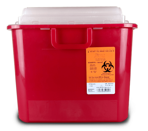 8708 - 5.4 QT Sharps Container Red with Clear Top