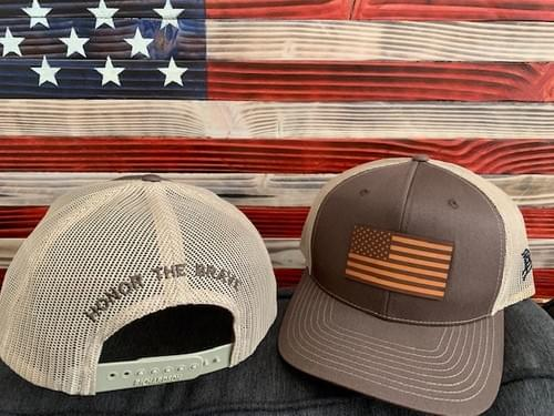 Honor The Brave Leather Flag Hat