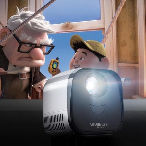 """VIVIBRIGHT L1 kids toys Projector 480*320P, Portable size suitable 60"""" video entertainment 【Silver】"""