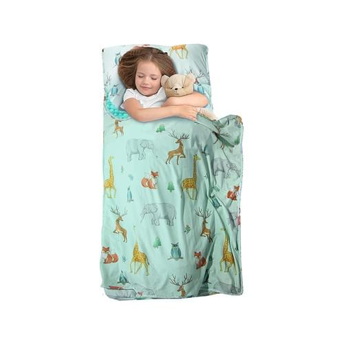 MAXTID Toddler Nap Mat with Removable Pillow for Daycare and Preschool-Green