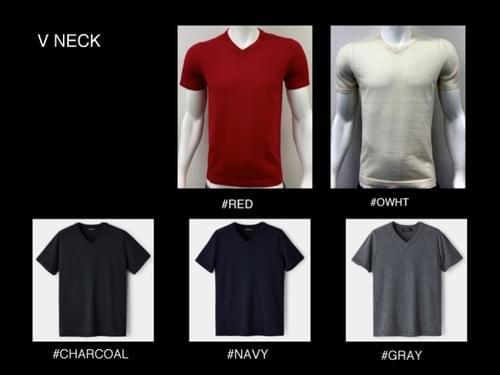Men's 100% cashmere short-sleeve knit < V neck >