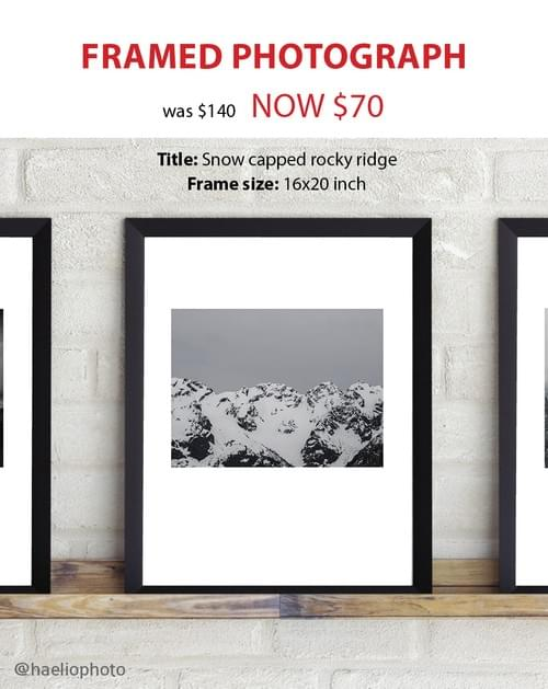 "Framed photograph - ""Snow capped rocky ridge"""