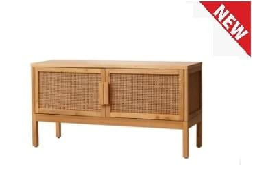 RICOZ-Solid Wood Rattan Storage Cabinet