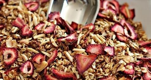 strawberries granola
