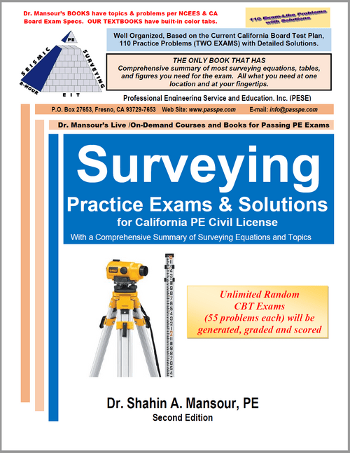 Surveying Practice Exams and Solutions for CA PE Civil License, 2nd Edition