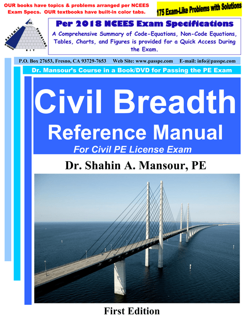 Civil Breadth Reference Manual for PE Civil License 1st Edition, per NCEES Exam Specifications