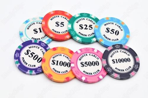 500 3-tone monte carlo ceramic poker chips free shipping