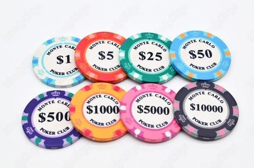 500 3-tone monte carlo ceramic poker chips free shipping