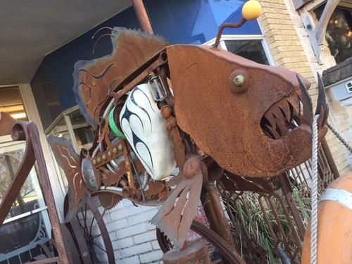 Industrial Fish/Motorcycle Art Piece