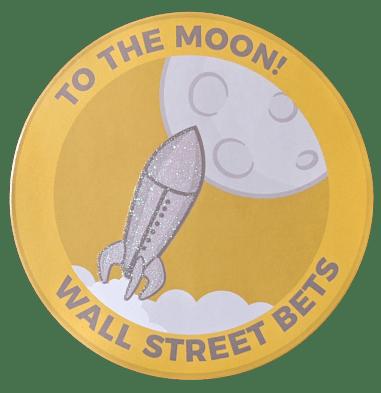 "To The Moon | Diamond Hands Rocket Sticker 4"" Shiny Diamonds & Rocket"