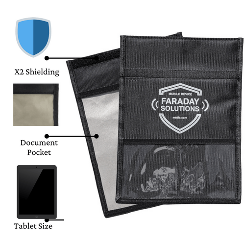"""Faraday Tablet Case with Document Sleeve + X2 Shielding 9""""x12"""""""