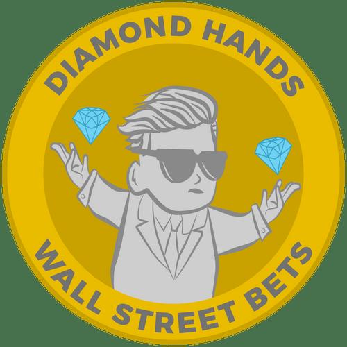 "100 Free - 4"" Wall Street Bets | Diamond Hands Sticker 4"" Shiny Diamonds & Rocket"