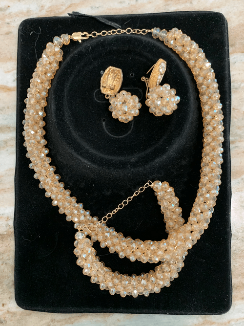 Hand Made African Beaded Necklace with matching Earrings and Bracelet
