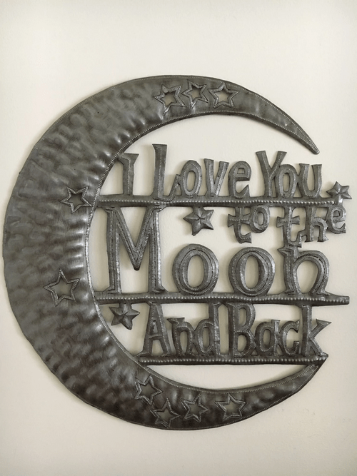 """""""I Love you to the Moon and Back"""" Metal Works Wall Art"""