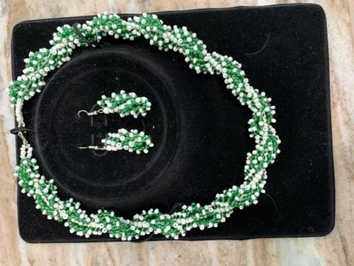 Hand Made Green and White African Beaded Necklace with matching Earrings