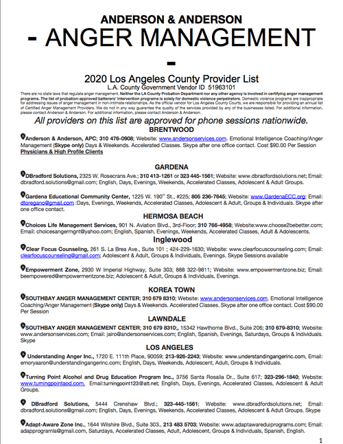 Los Angeles County 2020 Anger Management Providers List