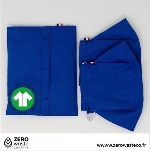 2 MASQUES A FILTRE durée XXL + TROUSSE - COTON 100% BIO - 3 couleurs disponibles