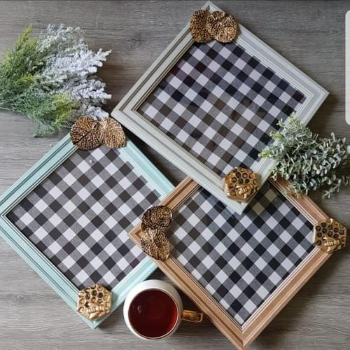 Checked Square Platter