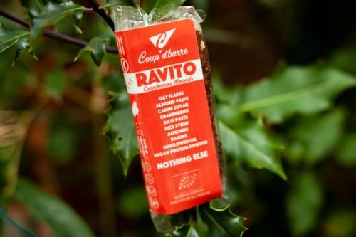 Pack 4 ravitos cranberries amandes, 4 ravitos cacao noisettes et 1 bidon coup d'barre